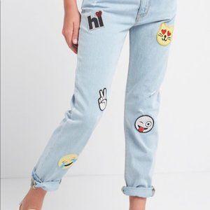 Gap kids Girlfriend Fit Sequin Patch Blue Jeans 16